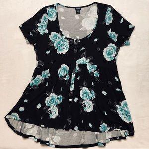 Torrid Black Floral Babydoll Tunic